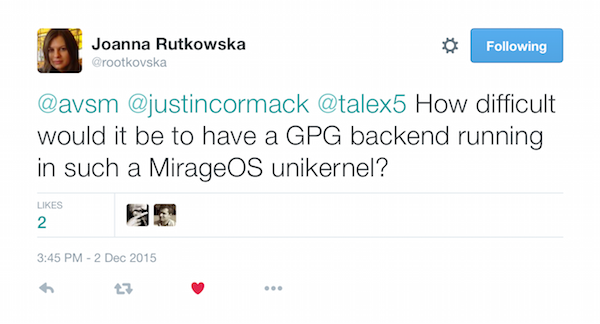 rootkovska's tweet about MirageOS and Qubes OS